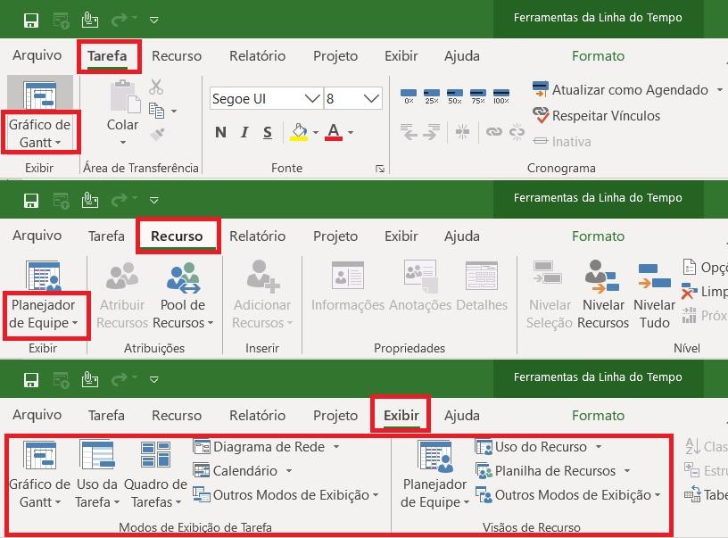 Modos de Exibição do Project Desktop