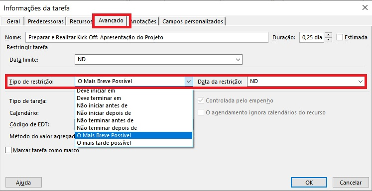 Project Desktop - Inserir Restricao