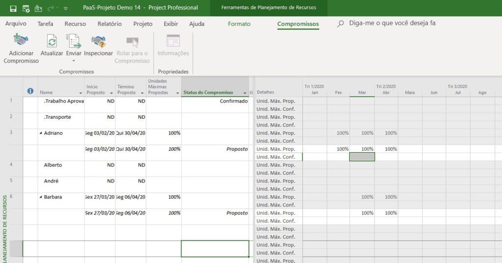 Modo de Exibição Planejamento de Recursos do Project Desktop