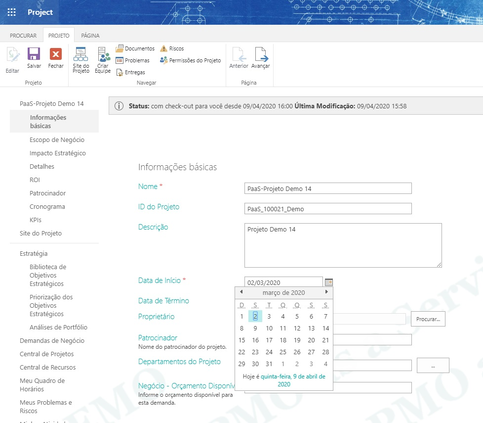 Como Alterar a Data de Início do Programa, Projeto ou Subprojeto