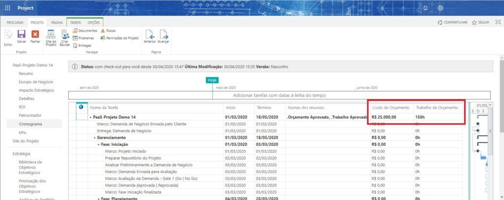 Registrar e Visualizar os Orçamentos no Cronograma