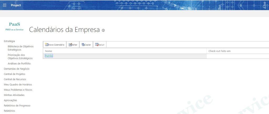 Calendários da Empresa no Project Online