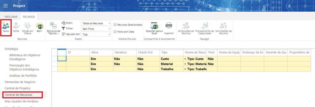 Como Criar e Editar Recursos Corporativos no Project Online