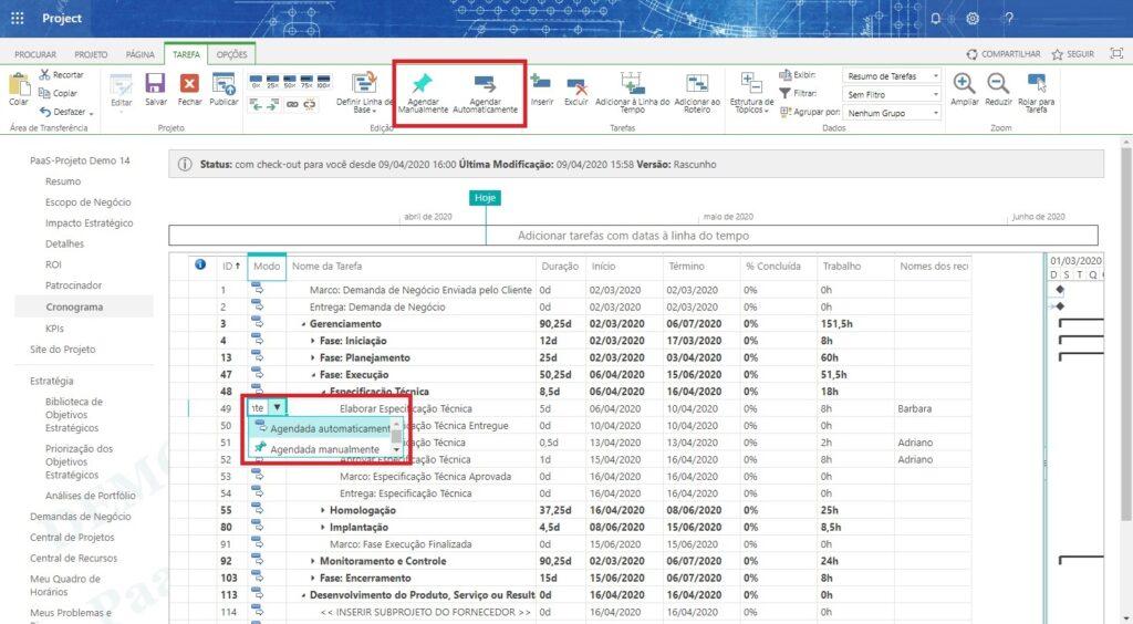 Project Online - Tipos de Agendamento de Tarefa